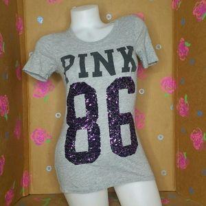 Victoria's Secret PINK Gray & Purple Sequined T XS